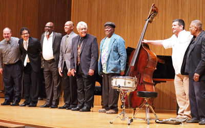 Faculty and guest artists with Milt Hinton Institute director Peter Dominguez and drummer Billy Hart
